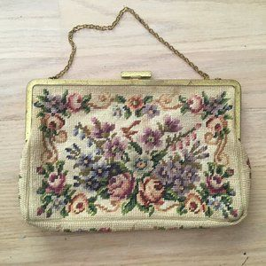 Vintage Floral Cross-stitched Handbag with Metal C